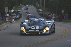 Race cars parade into Elkhart Lake for the Friday concours. #4 1970 Porsche 917K: Gregory Galdi
