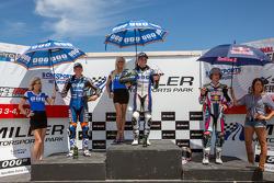 SportBike Race #1 Podium:1e plaats Cameron Beaubier, 2e plaats Garrett Gerloff, 3e plaats JD Beach