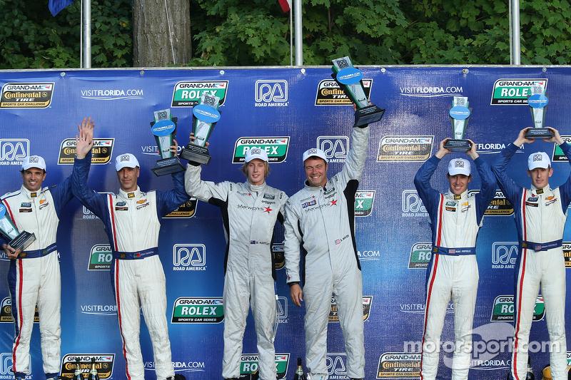 DP podium: winnaars Scott Mayer, Brendon Hartley, 2e plaats Christian Fittipaldi, Joao Barbosa, 3e plaats Burt Frisselle, Brian Frisselle