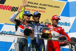 Nicky Hayden, Repsol Honda, Valentino Rossi, Yamaha en Carlos Checa,  Ducati