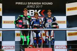 Podium: Race winner Galang Hendra, Yamaha, second place Scott Deroue, Kawasaki, third place Alfonso Coppola, Yamaha