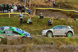 Pontus Tidemand, Jonas Andersson, Skoda Fabia R5, Skoda Motorsport passes the crashed car of Yazeed Al Rajhi, Michael Orr, Yazeed Racing Ford Fiesta RS WRC