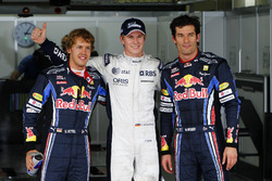 Polesitter Nico Hulkenberg, Williams FW32 Cosworth, Sebastian Vettel, Red Bull Racing, Mark Webber, Red Bull Racing