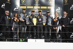 Podium North America: race winners Trent Hindman, Riccardo Agostini, Prestige Performance, second place Jeroen Mul, Change Racing, third place Brandon Gdovic, DAC Motorsport
