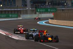 Max Verstappen, Red Bull Racing RB12, leads Nico Rosberg, Mercedes F1 W07 Hybrid, Kimi Raikkonen, Ferrari SF16-H, and Sebastian Vettel, Ferrari SF16-H
