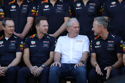 Paul Monaghan, Red Bull Racing Chief Engineer, Christian Horner, Red Bull Racing Team Principal, Dr Helmut Marko, Red Bull Motorsport Consultant and Jonathan Wheatley, Red Bull Racing Team Manager at the Red Bull Racing Team photo