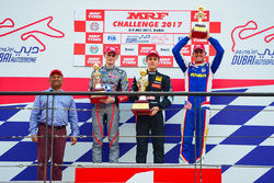 Podium race 1: winner Felipe Drugovich, second place Alex Karkosik, third place Rinus Van Kalmthout