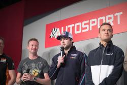 BTCC-kampioenen Matt Neal, Gordon Sheddon, Andrew Jordan en Colin Turkington op de Autosport Stage met Henry Hope-Frost