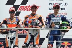 Race winner Marc Marquez, Repsol Honda Team, second place Dani Pedrosa, Repsol Honda Team, third pla