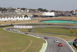 Tom Kristensen, Loic Duval, Allan McNish, Audi Sport Team Joest, Audi R18 e-tron quattro leads behind the Safety Car
