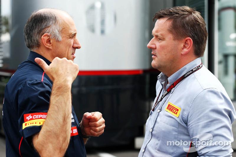 (L naar R): Franz Tost, Teambaas Scuderia Toro Rosso met Paul Hembery, Pirelli Motorsport Director