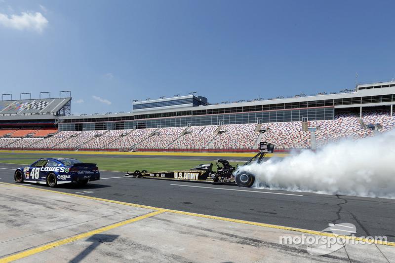 Jimmie Johnson visits Charlotte Motor Speedway