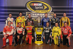 The 2013 Chase drivers: Joey Logano, Ryan Newman, Kyle Busch, Carl Edwards, Matt Kenseth, Dale Earnhardt Jr., Greg Biffle, Kevin Harvick, Kurt Busch, Jimmie Johnson, Kasey Kahne, Clint Bowyer