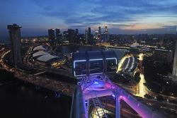 La escena desde el Singapore Flyer