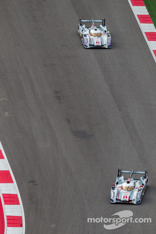 #1 Audi Sport Team Joest Audi R18 e-tron quattro: André Lotterer, Benoit Tréluyer, Marcel Fässler #2