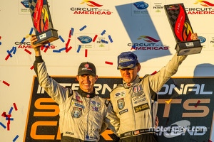 P2 podium: class winners Scott Tucker and Ryan Briscoe