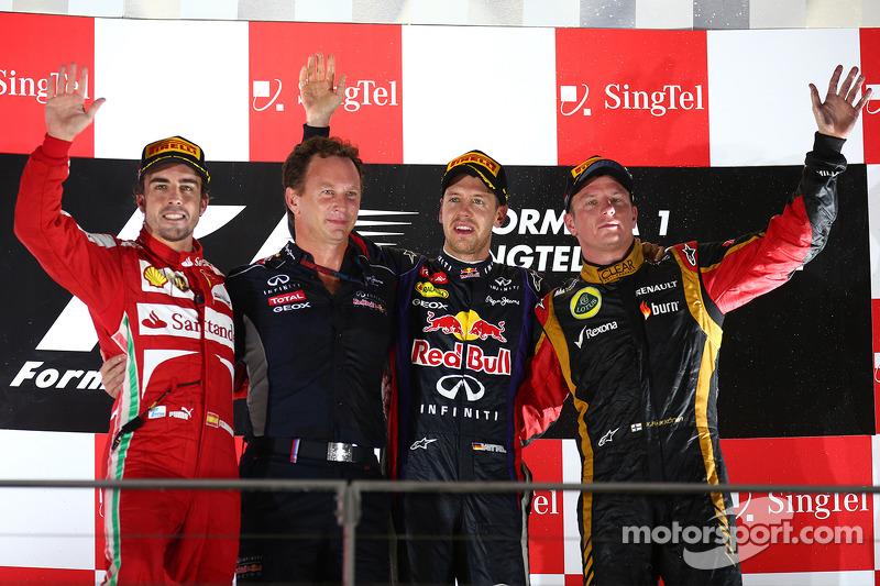 2013: 1. Sebastian Vettel,  2. Fernando Alonso,  3. Kimi Raikkonen