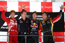 1st place Sebastian Vettel, Red Bull Racing, 2nd Fernando Alonso, Ferrari and 3rd place Kimi Raikkonen, Lotus F1 Team