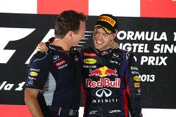 Christian Horner, Red Bull Racing Teamchef und Sebastian Vettel, Red Bull Racing