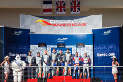 LMGTE Am podium: class winners Stuart Hall, Jamie Campbell-Walter, second place Christoffer Nygaard, Kristian Poulsen, Nicki Thiim, third place Raymond Narac, Jean-Karl Vernay