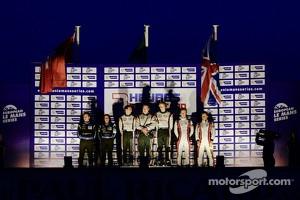 Overall race podium: winners Brendon Hartley, Jonathan Hirschi