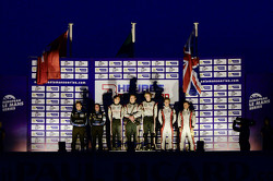 Overall race podium: winners Brendon Hartley, Jonathan Hirschi