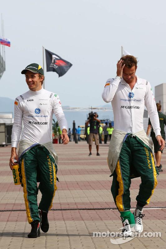 (Da esquerda para direita): Charles Pic, Caterham, com o companheiro Giedo van der Garde, Caterham F1 Team