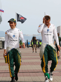 (L to R): Charles Pic, Caterham with team mate Giedo van der Garde, Caterham F1 Team