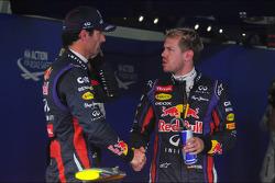 (L to R): Mark Webber, Red Bull Racing with Sebastian Vettel, Red Bull Racing in parc ferme