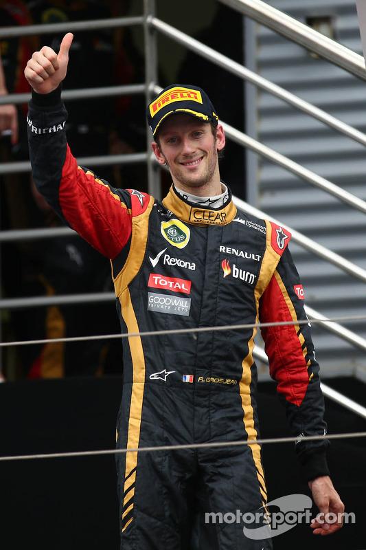 terceiro colocado Romain Grosjean, Lotus F1 E21