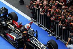Kimi Raikkonen, Lotus F1 E21 celebrates his second position in parc ferme