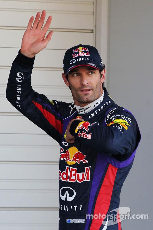 Mark Webber, Red Bull Racing comemora sua pole position no parque fechado