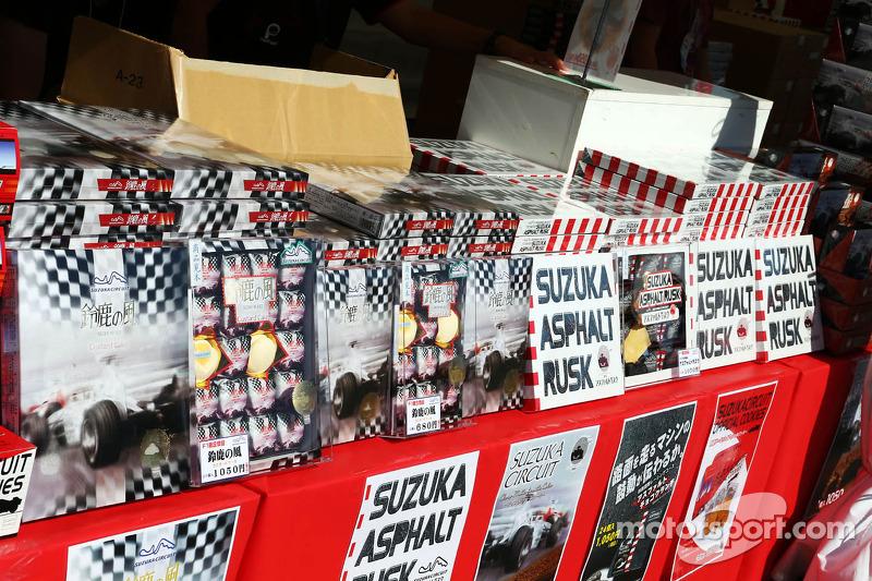 Suzuka Ashphalt Rusk on a merchandise stand