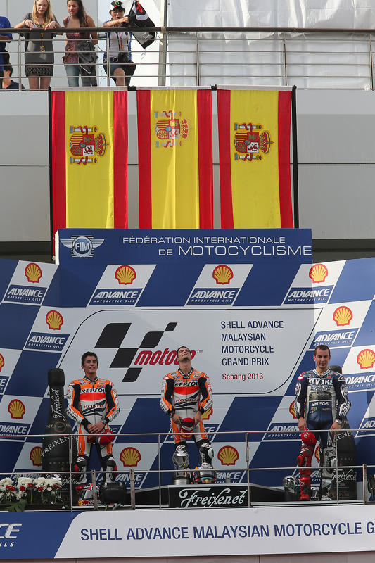 O vencedor Dani Pedrosa, segundo colocado Marc Marquez, terceiro colocado Jorge Lorenzo