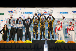 P1 podium: class and overall winners Nick Heidfeld, Neel Jani, Nicolas Prost, second place Tony Burgess, Chris McMurry, Chris Dyson, third place Andy Meyrick, Katherine Legge