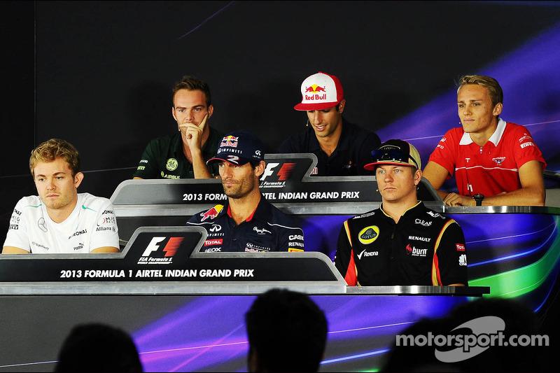 Giedo van der Garde, Caterham F1 Team; Daniel Ricciardo, Scuderia Toro Rosso; Max Chilton, Marussia F1 Team; Nico Rosberg, Mercedes AMG F1; Mark Webber, Red Bull Racing; Kimi Raikkonen, Lotus F1 Team