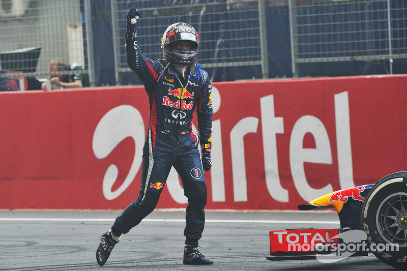 Race winner and World Champion Sebastian Vettel, Red Bull Racing RB9 celebrates at the end of the ra