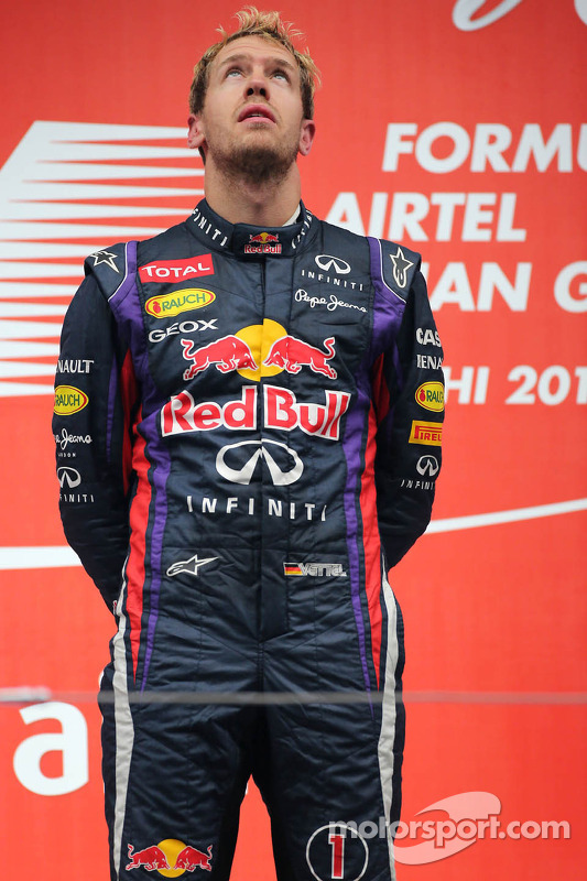 O vencedor e World Champion Sebastian Vettel, Red Bull Racing
