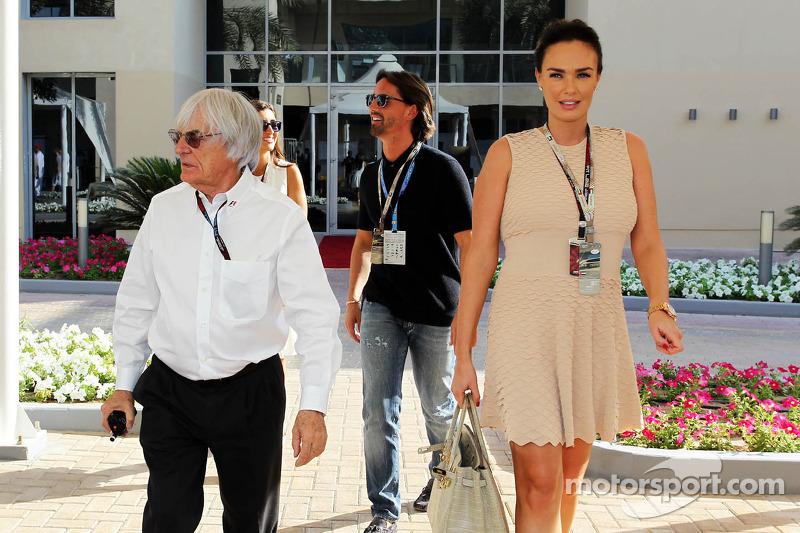 (L naar R): Bernie Ecclestone, CEO Formula One Group, met Jay Rutland en zijn vrouw Tamara Ecclestone