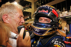 Race winner Sebastian Vettel, Red Bull Racing celebrates in parc ferme with Dr Helmut Marko, Red Bull Motorsport Consultant