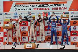 GT300 podium: winners Katsuyuki Hiranaka, Bjorn Wirdheim, second place Hideki Mutoh, Yuhki Nakayama, third place Tetsuya Yamano, Kouta Sasaki