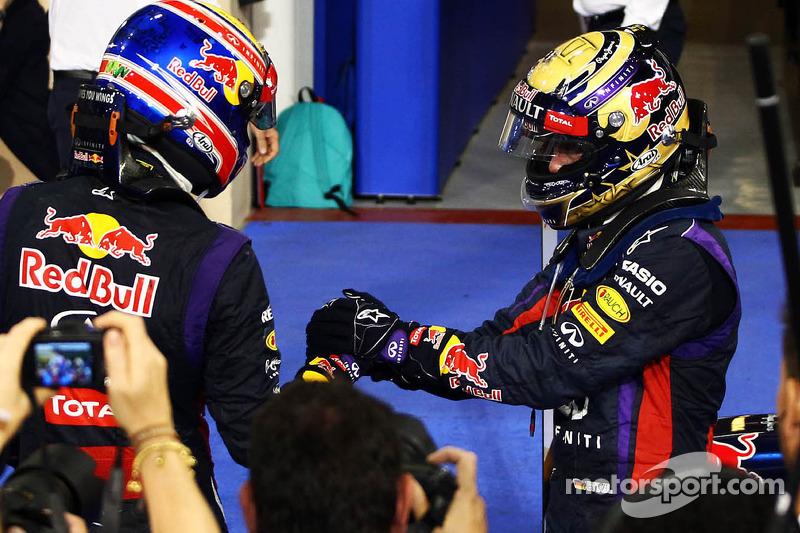 Race winner Sebastian Vettel, Red Bull Racing celebrates in parc ferme with Mark Webber, Red Bull Ra