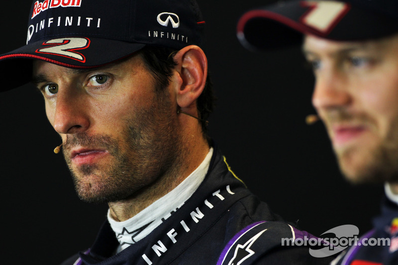 Mark Webber, Red Bull Racing and team mate Sebastian Vettel, Red Bull Racing in the FIA Press Confer