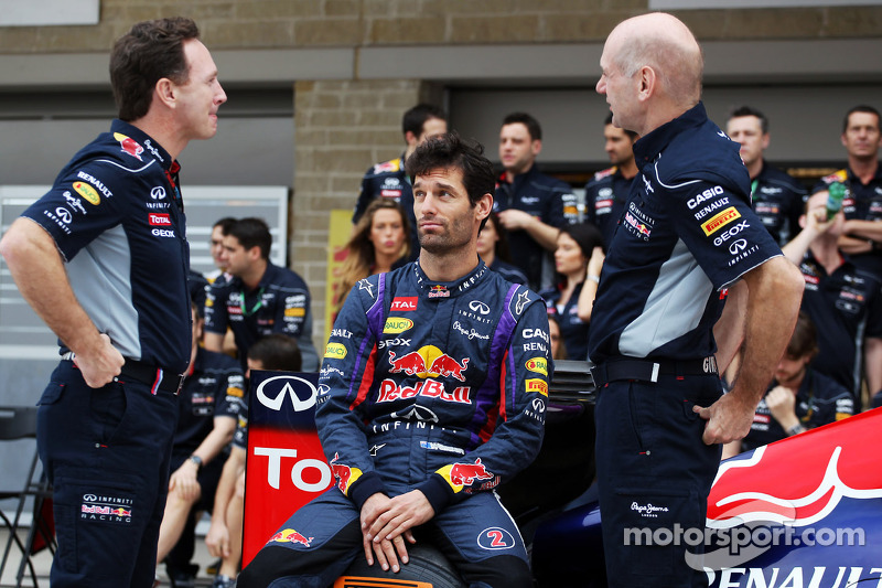 (L to R): Christian Horner, Red Bull Racing Team Principal; Mark Webber, Red Bull Racing; and Adrian Newey, Red Bull Racing Chief Technical Officer at a team photograph