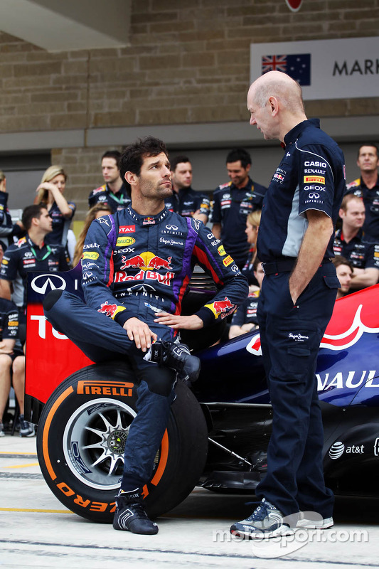 (L to R): Mark Webber, Red Bull Racing and Adrian Newey, Red Bull Racing Chief Technical Officer at