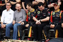 (L to R): Eric Lux, Genii Capital CEO with Gerard Lopez, Genii Capital, Romain Grosjean, Lotus F1 Team, Eric Boullier, Lotus F1 Team Principal and Heikki Kovalainen, Lotus F1 Team at a team photograph