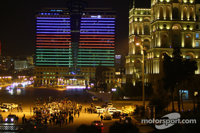 The race cars in the streets of Baku