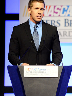 Carl Edwards speaks onstage after winning the Sherwin-Williams Fastest Lap Award at the NMPA Myers Brothers Awards Luncheon