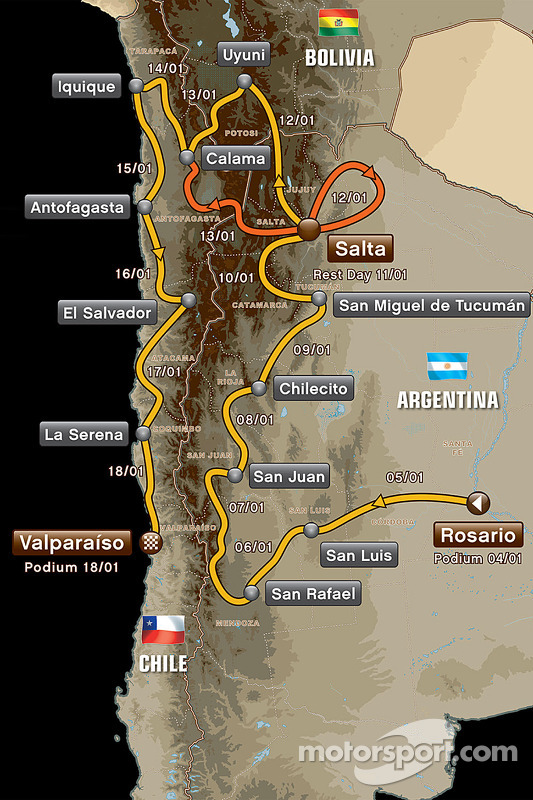 La ruta del Dakar 2014