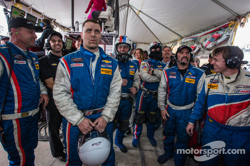End of the race tension: Action Express Racing team members watch the last lap of the race